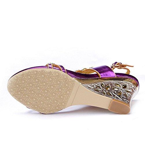 Unicrystal - Zapatos con correa de tobillo mujer Morado - morado