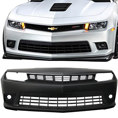 Front Bumper Cover Fits 2014-2015 Chevy Camaro | Factory Style Black PP Z28 Spring Edition Front Lip Spoiler Diffuser by IKON MOTORSPORTS