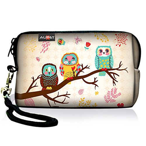 AUPET Cute Three Owls Digital Camera Case Bag Pouch Coin Purse with Strap for Sony Samsung Nikon Canon Kodak