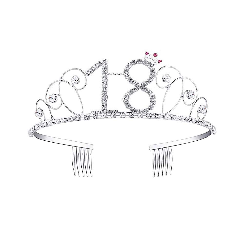 poetryer Tiara Crystal Birthday Tiara Crown Princess Headbands Silver Crystals Tiara Hair Accessories with Design Number 18/20/21/30/40/50/60/70/80/90 18 UN