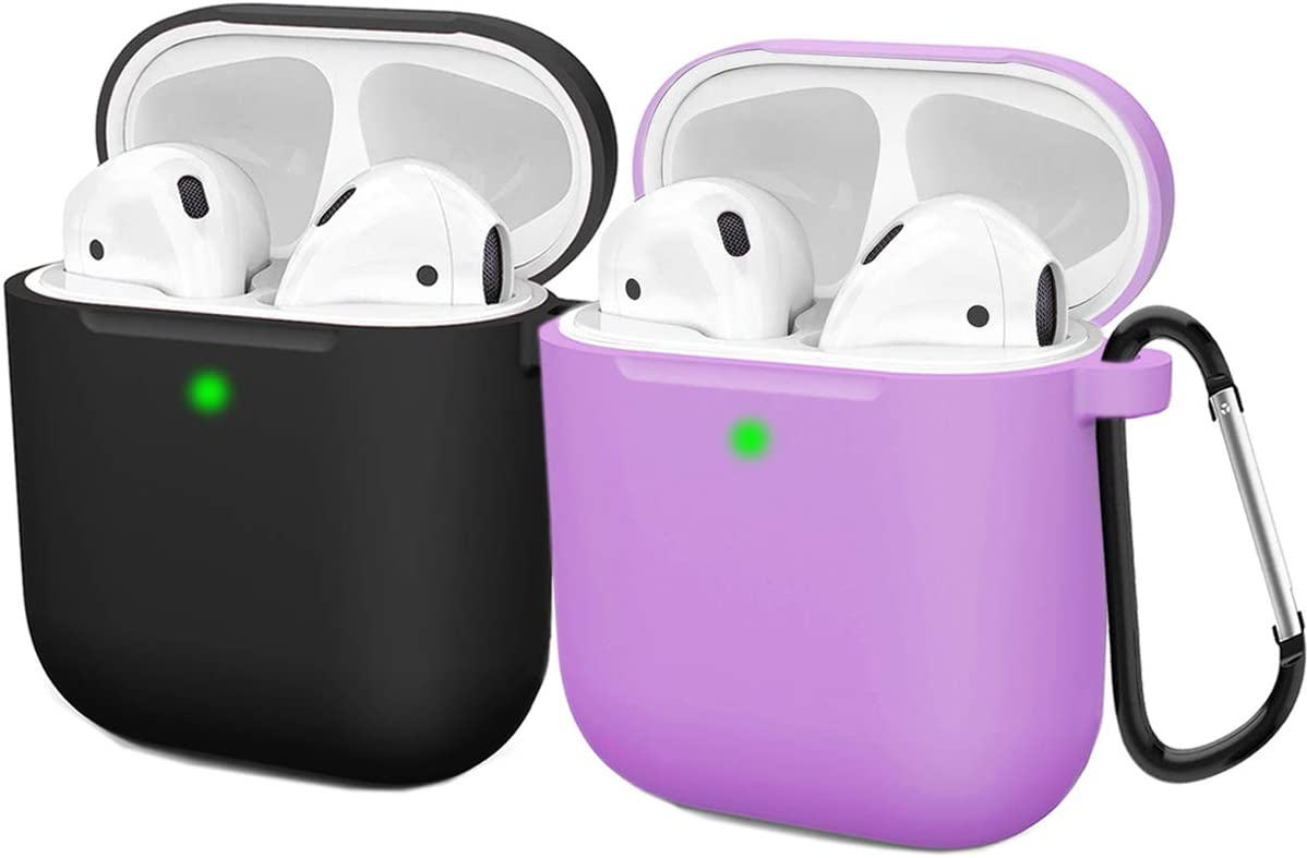 Compatible AirPods Case Cover Silicone Protective Skin for Apple Airpod Case 2&1 (2 Pack) Black/Purple