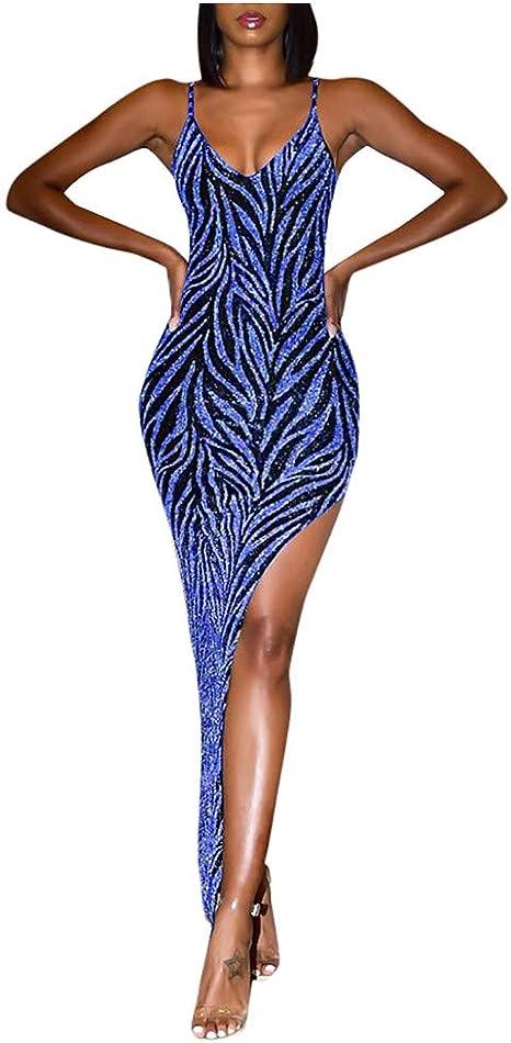 ZODOF vestidos largos Mujer Sexy Slim fit Lentejuelas Destello Cuello en V Apretado Hendidura alta Correa de hombro delgada Elegante vestido fiesta coctel vestidos invitada boda Dress: Amazon.es: Instrumentos musicales