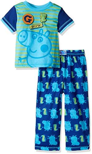 [Peppa Pig Toddler Boys' George 2pc Sleepwear Set, Navy, 3T] (Boy Pig Costume)