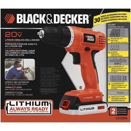 Black-Decker-LD120VA-20-Volt-MAX-Lithium-Ion-DrillDriver-with-30-Accessories