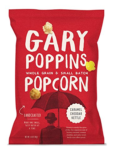 Buttery Cheddar Cheese Popcorn Tin - Gary Poppins Popcorn - Gourmet Handcrafted Flavored Popcorn - 10 Pack Caramel Cheddar Kettle, 1.4oz