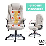 Homgrace Swivel Gaming Massage Chair Ergonomic PU Leather Executive Office Chair Heated Vibrating 6 Point Wireless Massage Chair (white)