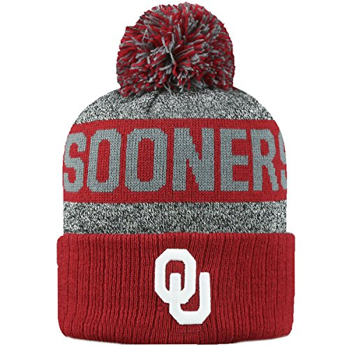 Top of the World NCAA Arctic Striped Cuffed Knit Pom Beanie Hat-Oklahoma Sooners
