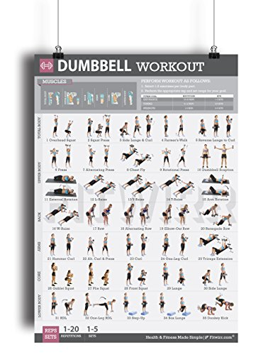 Dumbbell Exercise Workout Poster for Women - LAMINATED - Exercise For Women - Leg, Arm, Exercises - Home Gyms - Fitness Chart - Resistance Training Exercises - Total Body workout Exercise poster by Fitwirr
