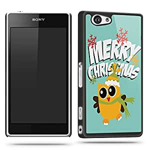 Yellow Christmas Owl Phone Case Shell for Sony Xperia Z1 Compact - Black