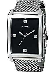 GUESS Mens U0279G1 Dressy Silver-Tone Watch with Black Dial  and Mesh Deployment Buckle