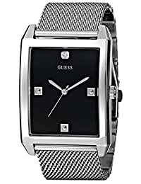 GUESS Men's U0279G1 Rectangular Silver-Tone Diamond-Accented Mesh Watch