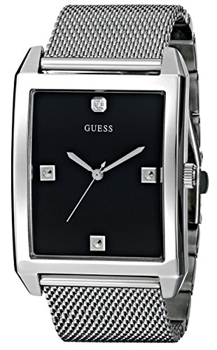 GUESS Men's U0279G1 Dressy Silver-Tone Watch with Black Dial  and Mesh Deployment Buckle