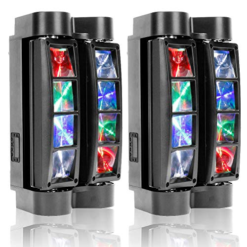U`King Spider Moving Head Light 8x10W LEDs Beam DJ Lights RGBW Sound Activated and DMX-512 Control for Party Pub Disco Show Wedding Event Stage Lighting - 2 Pack