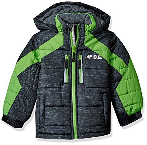 London Fog Boys' Big' Active Puffer Jacket Winter Coat, Real Black, 10/12