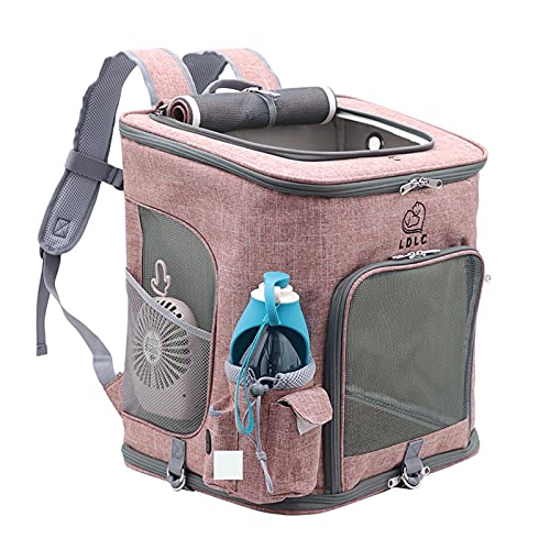 Cat Backpack Carrier Large Dog Backpack Carrier for Medium Dogs, Pet Carrier with Inner Safety Buckle, SBS Self-Locking Zipper (Pink)