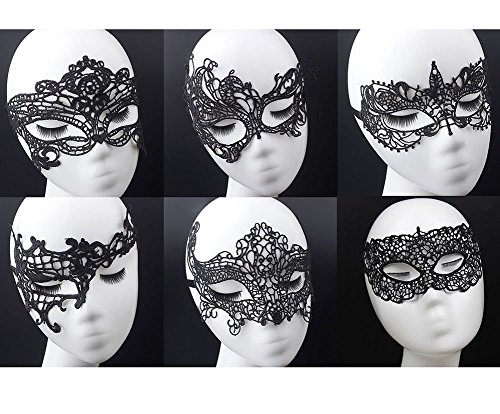 Geek-M Women's Black Lace Mask Party Ball Masquerade Fancy Dress Masks Pack of 6 -