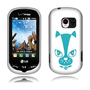Fincibo (TM) Protector Cover Case Snap On Hard Plastic Front And Back For LG Extravert VN271 - Turquoise Not Bad Cat Face