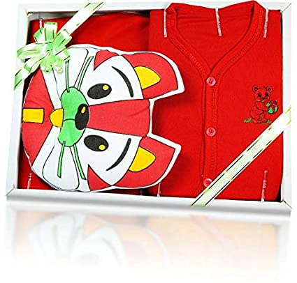 0745d044e49 Buy Jinie Gift Set for New Born Baby boy and Girl (Red) Online at Low  Prices in India - Amazon.in