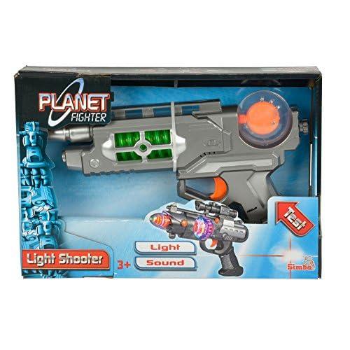 Simba Toys 108046571–Planet Fighter Light Shooter Pistolet, assortiment de 3Motifs