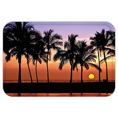 VROSELV Custom Door MatHawaiianDecoration Hawaiian Sunset On Big Island Anaehoomalu Bay Tropic Horizon Ocean Romantic Resort - Island Queens Big