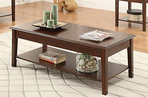 Poundex F3139 Laurine 3-Piece Brown Wood Coffee Table Set w/Lower Shelf, Multi
