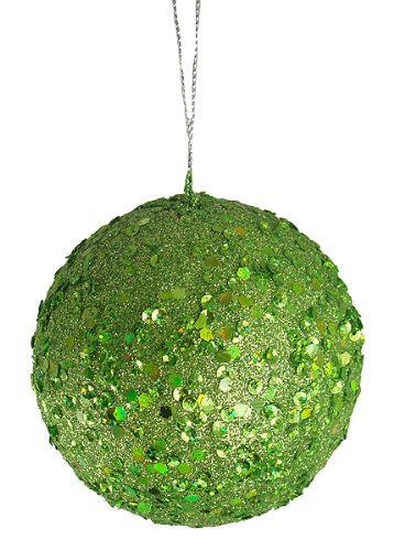 Vickerman Fancy Lime Green Holographic Glitter Drenched Christmas Ball Ornament, (Light Green Ball Ornament)