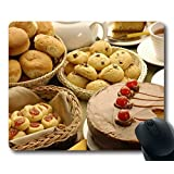 Custom Special Mouse Pad with Batch Sweet Cookies Pie Rolls Non-Slip Neoprene Rubber Standard Size 9 Inch(220mm) X 7 Inch(180mm) X 1/8 Inch(3mm) Desktop Mousepad Laptop Mousepads Comfortable Computer Mouse Mat