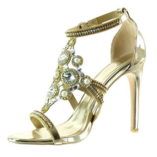 Sera Tacco Scarpe Moda 10 Angkorly Gioielli da Donna Tacco Alto Scarpe Strass da Decollete Stiletto Aperto Perla 5 Stiletto Oro cm f8w4gqw