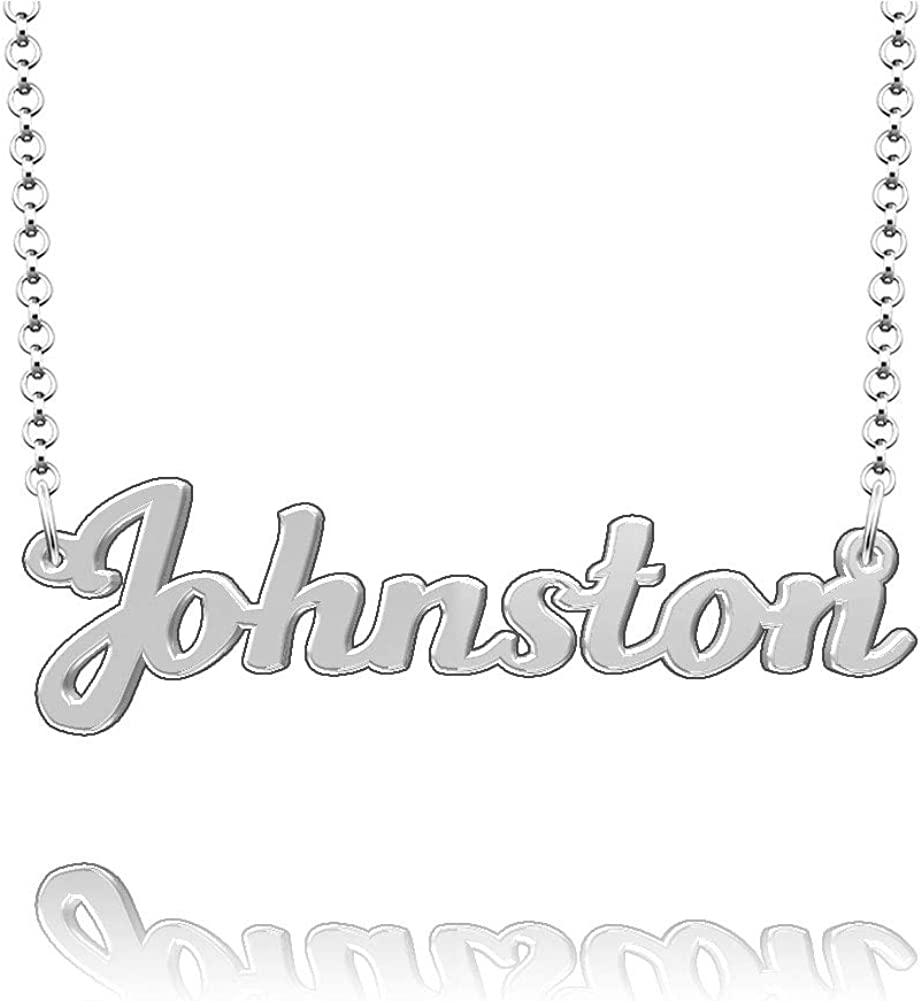 LoEnMe Jewelry Johnston Name Necklace Sterling Silver Plated Custom Made of Last Name Personalized Gift for Family