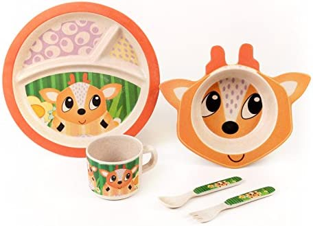 Bamboo Meal Set / Plate set / Dinner set by Green Frog Friends, Eco-friendly Bamboo Dishes, feeding Set for toddlers and Little Kids, Boys and Girls, Deer Character by Green Frog