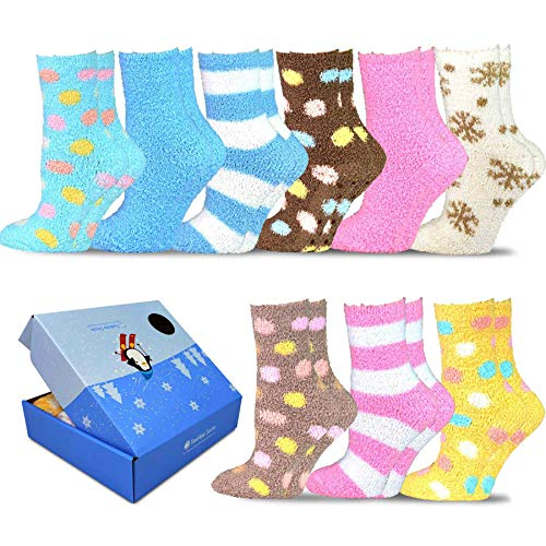 Box 9ct (TeeHee Winter Holiday Cozy Fuzzy Fluffy Fun Slipper Socks 9-Pack with Gift Box (Stripes and Polka Dots))