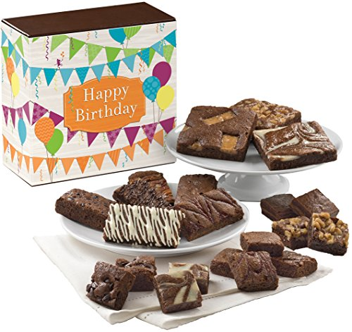 Fairytale Brownies Birthday Medley Gourmet Food Gift Basket Chocolate Box - Full-Size, Snack-Size and Bite-Size Brownies - 21 Pieces