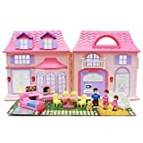 Boley Pretend Play Doll House Toy - 21 piece collapsible dollhouse, a perfect girls toy with kitchen accessories and more!