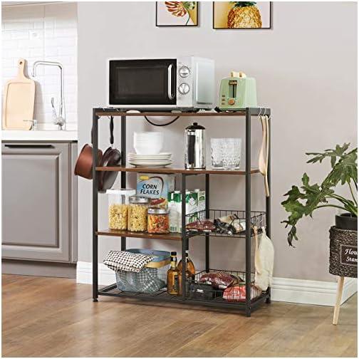 VASAGLE ALINRU Kitchen Baker's Rack, Industrial Kitchen Shelf with 2 Mesh Baskets and 6 Hooks, Microwave Oven Stand…