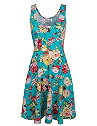 Tom's Ware Womens Casual Fit and Flare Floral Sleeveless Dress TWCWD054-GREEN-US XXL