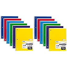 """Mead Spiral Notebook, College Ruled, 1 Subject, 70 Sheets, 8"""" x 10.5"""", Assorted Colors, 24 Pack"""