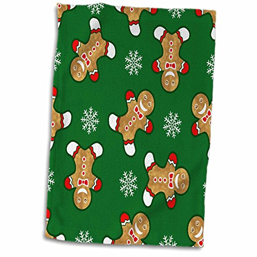 3D Rose Cheerful Christmas Gingerbread Men and Snowflakes Hand Towel, 15