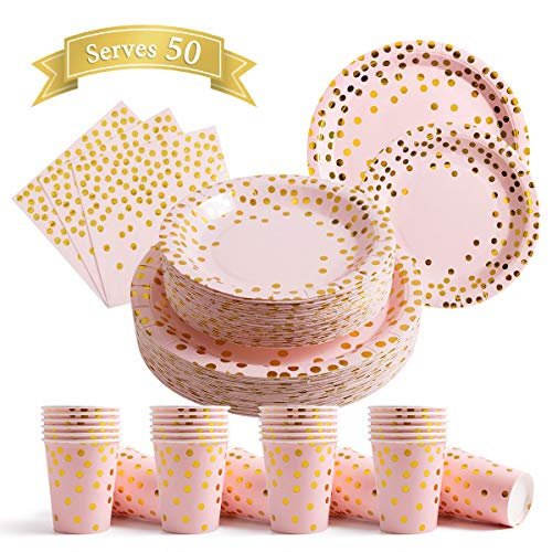200Pcs Pink Disposable Paper Plates Cups Napkins Set – Party Supplies, Gold Dots on Pink 50 Dinner Plates 50 Dessert…