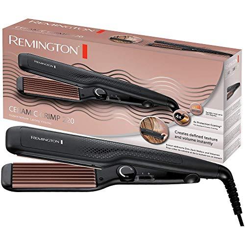 Remington S3580 Ceramic Crimp - Plancha de Pelo, Cerámica Avanzada, Placas Anchas, Crea Textura y Volumen, Negro