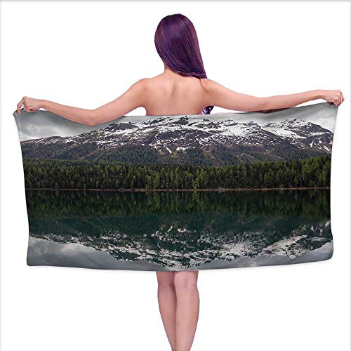 Glifporia Bath Towel Sets Prime Lakehouse Decor Collection,Lake St. Moritz Switzerland Upper Engadin Valley with Reflection of Snowy Mountains and Forest Picture,White Olive Grey,W10 xL39 for bathroo (Best Spa In St Moritz)