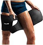 LODAY Neoprene Thigh Brace Support Hamstring Compression Sleeve Adjustable Upper Leg Wraps for Women and Men(a Pair)