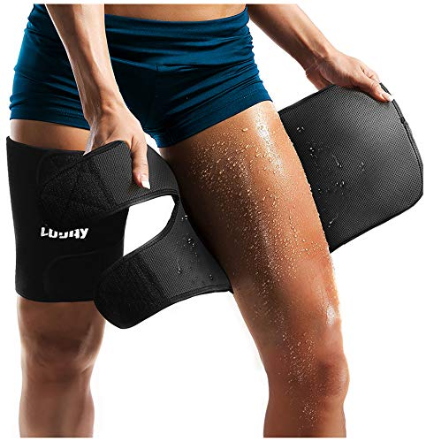 LODAY Neoprene Thigh Brace Support Hamstring Compression Sleeve Adjustable Upper Leg Wraps for Women and Men(a Pair) -