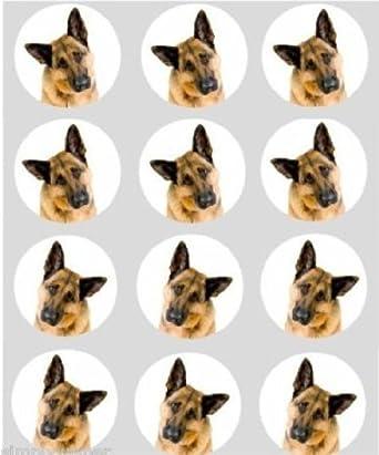 12 Alsation Dog Wafer Paper Cake Cupcake Decoration Toppers 40mm German Shepherd