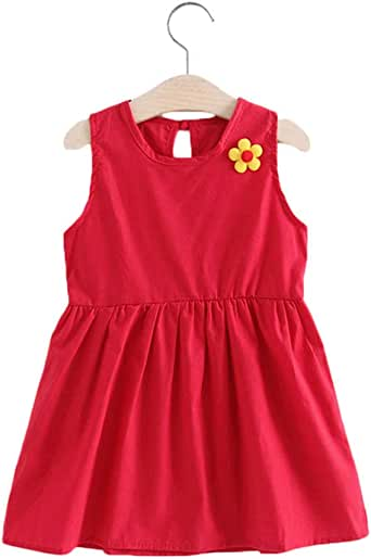 New Kids Girl Sleeveless Dress Summer Girls Prined Flower Dresses Children Clothes Baby Cotton Princess Dress Outfits