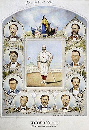 Cincinnati Baseball Team Nthe First Nine Of The Cincinnati (Red Stockings) Base Ball Club Lithograph 1869 Poster Print by (18 x 24)