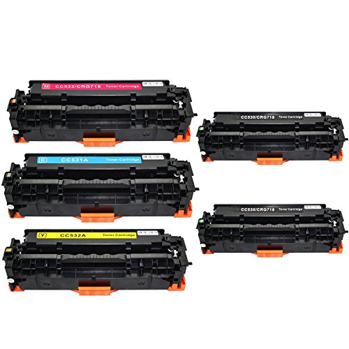 AMTONER Compatible Replacement for Combo Set CC530A CC531A CC532A CC533A 304A Use with Color LaserJet CP2025 CP2025N CP2025DN CM2320FXI Printer(2 Black, 1 Cyan, 1 Yellow, 1 Magenta)