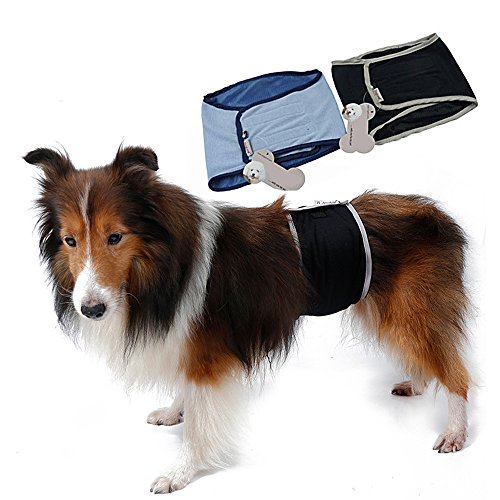 (S-Lifeeling Washable Male Dog Diapers Sanitary Male Dog Protector Panties Large Pants Wrap)