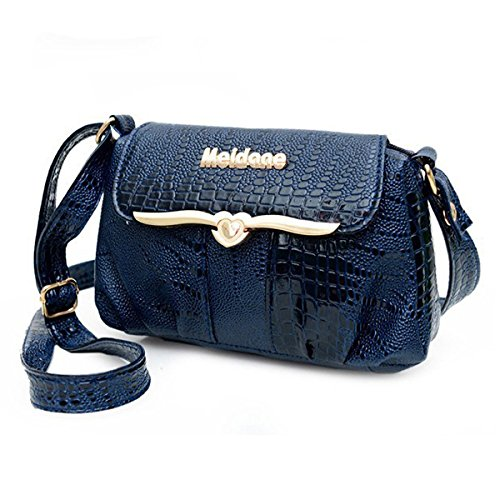 Women Messenger Bags - SODIAL(R)Luxury Alligator Women Messenger Bags Fashion Women Shoulder Bag 2016 New Good Quality Female Cross Body Bags ToteBlue