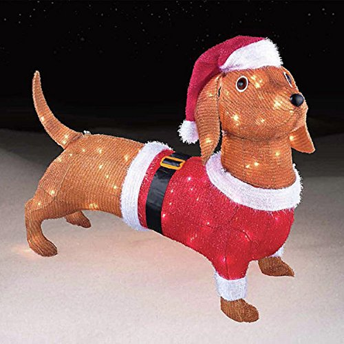 "China CHRISTMAS 26"" 3D PRE-LIT TINSEL DACHSHUND PUPPY DOG..."