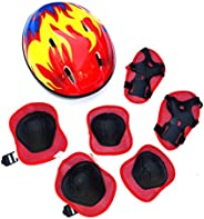 WANTALL 7pcs/Set Kids Helmet Knee Elbow Pads Wrist Guard Sport Protective Gear, Kids Protective Gear, Adjustab
